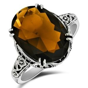 Jewelry - 6CT Smoky Topaz 925 Sterling Silver Ring 6